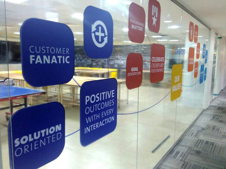 Brand Values showcase through environmental graphics